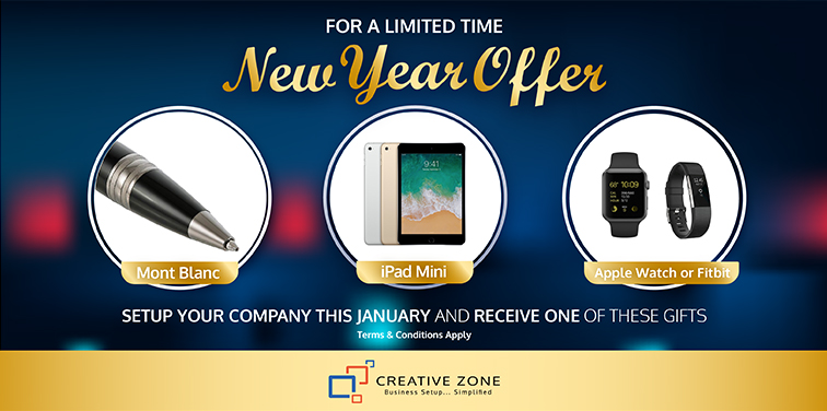 Choose one free gift when setting up your Free Zone company in January. Conditions apply.