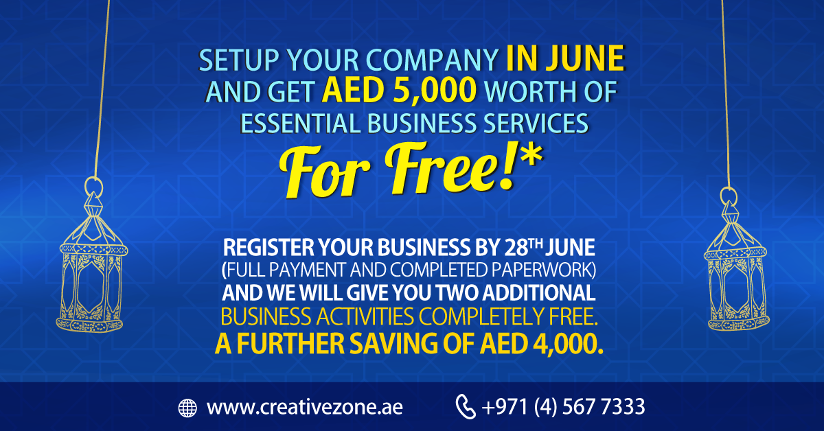 Get up to AED 9,000 worth of savings when you register you company by 28th June